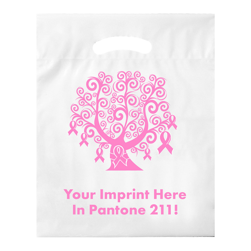 "Breast Cancer Awareness Stock Design Die Cut LDPE Bag • Tree - Customized (12""x15""x3"") - Flexo Ink"