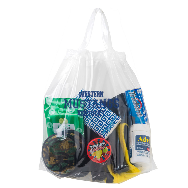 "Crystal Clear Stadium Security Poly-Draw Tape Bag (12""x12""x6"") - Flexo Ink"