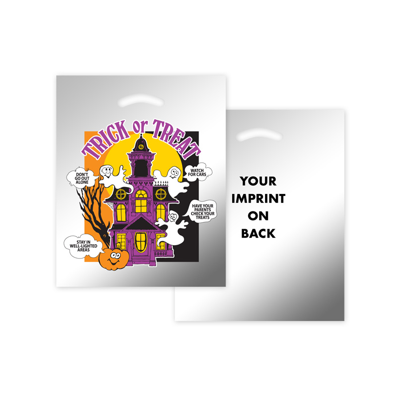 Halloween Stock Design Silver Reflective Die Cut Bag - Haunted House