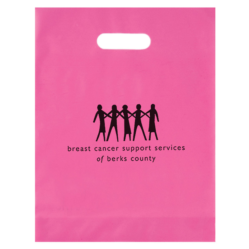 "Breast Cancer Awareness Pink Frosted Die Cut Bag (12""x15""x3"") - Flexo Ink"