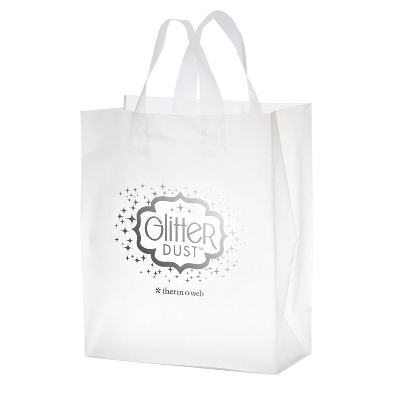 "Clear Frosted Soft Loop Plastic Shopper Bag w/Insert (8""x4""x11"") - Foil Stamp"