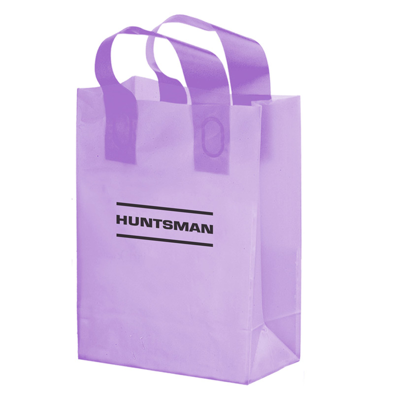 "Color Frosted Soft Loop Plastic Shopper Bag w/Insert (10""x5""x13"") - Flexo Ink"