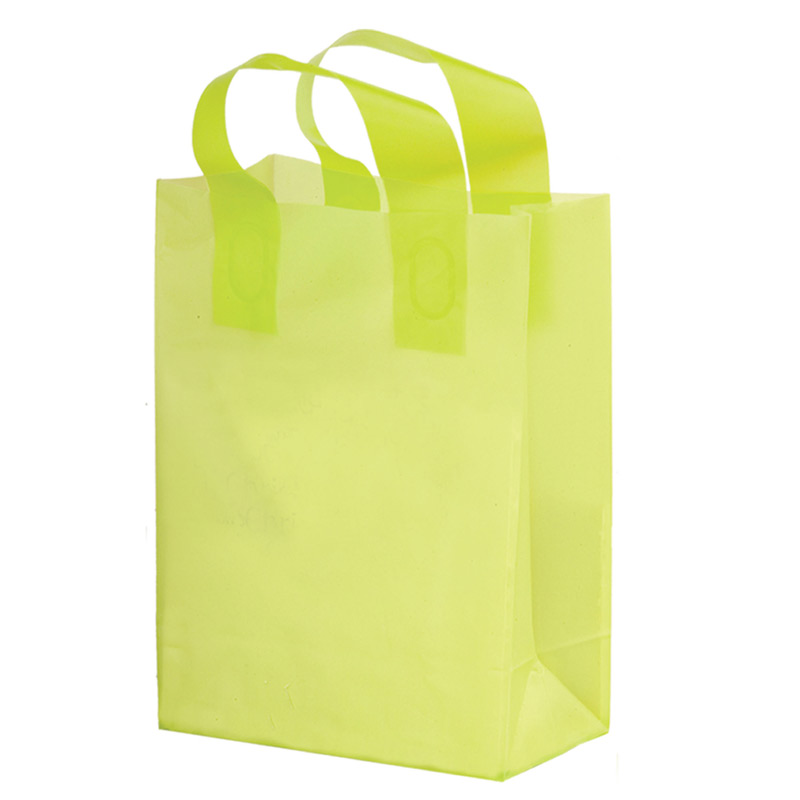 "Clear Frosted Soft Loop Plastic Shopper Bag w/Insert (10""x5""x13"") - Foil Stamp"