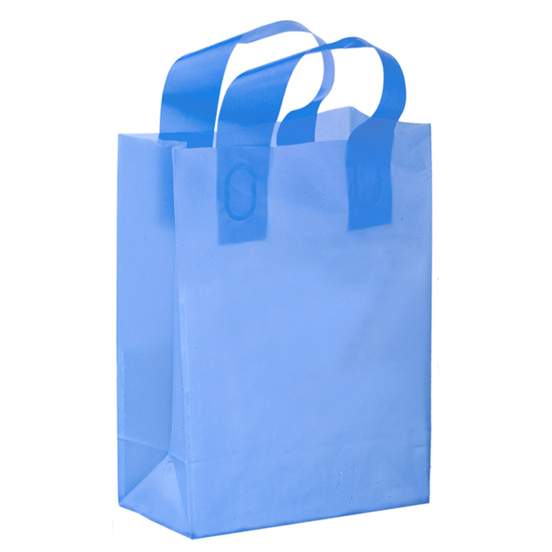 "Color Frosted Soft Loop Plastic Shopper Bag w/Insert (8""x4""x11"") - Foil Stamp"