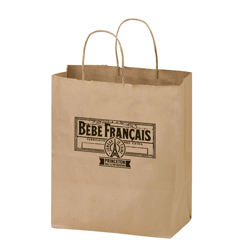 "Natural Kraft Paper Shopper Tote Bag (8""x4 3/4""x10 1/4"") - Flexo Ink"