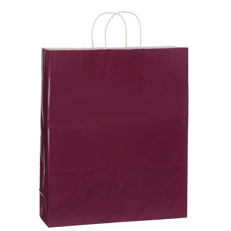"Color Gloss Paper Shopper Tote Bag (16""x6""x19"") - Foil Stamp"