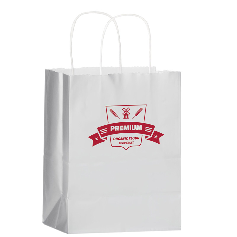"White Gloss Paper Shopper Tote Bag (8""x4 3/4""x10 1/2"") - Foil Stamp"