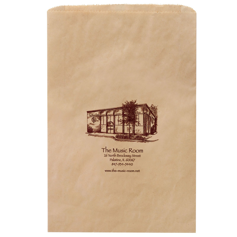 "Natural Kraft Paper Merchandise Bag (16""x3 1/2""x24"") - Flexo Ink"