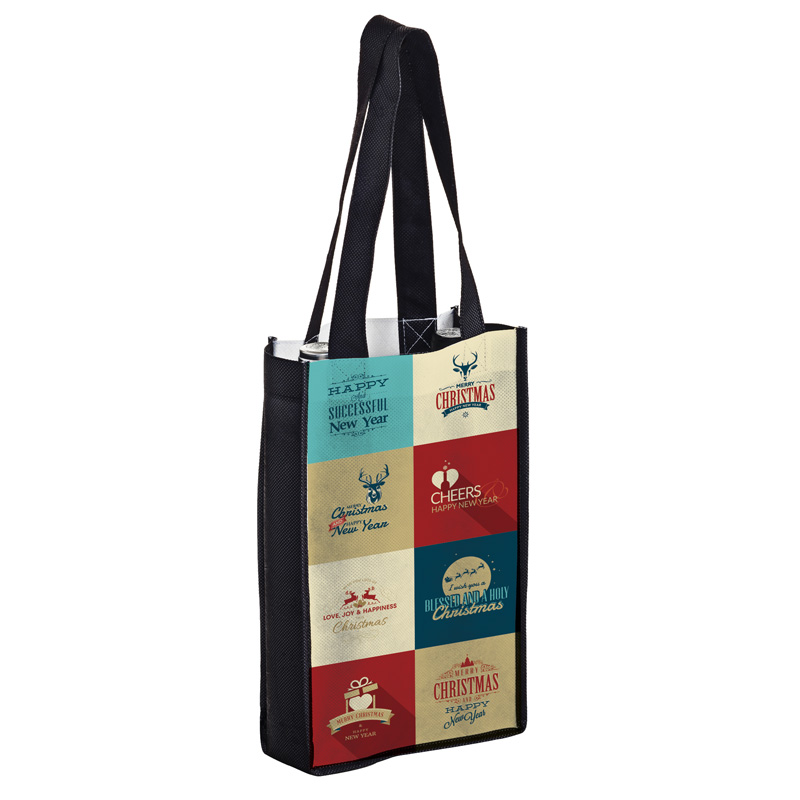 Full Coverage PET Non-Woven Sublimated 2 Bottle Wine Tote Bag – Sublimation