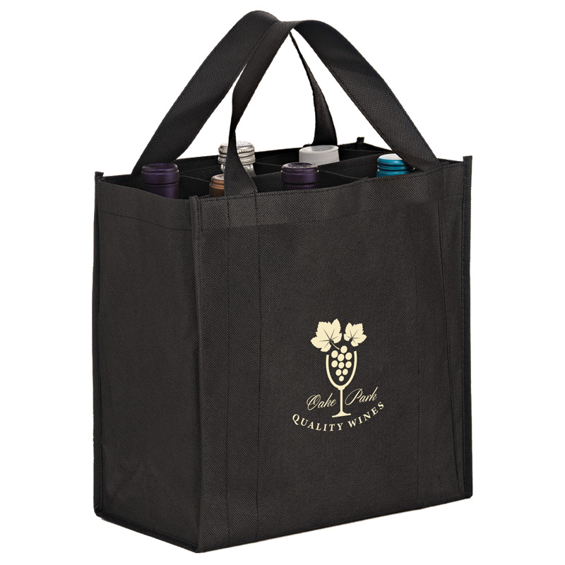6 Bottle Non-Woven Wine Tote Bag with removable divider - CMYK