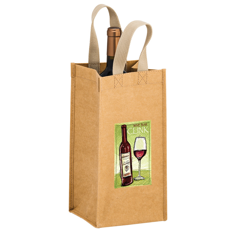 "TORNADO - Washable Kraft Paper 1 Bottle Wine Tote Bag w/ Web Handle (6""x6""x12.5"") - EV"