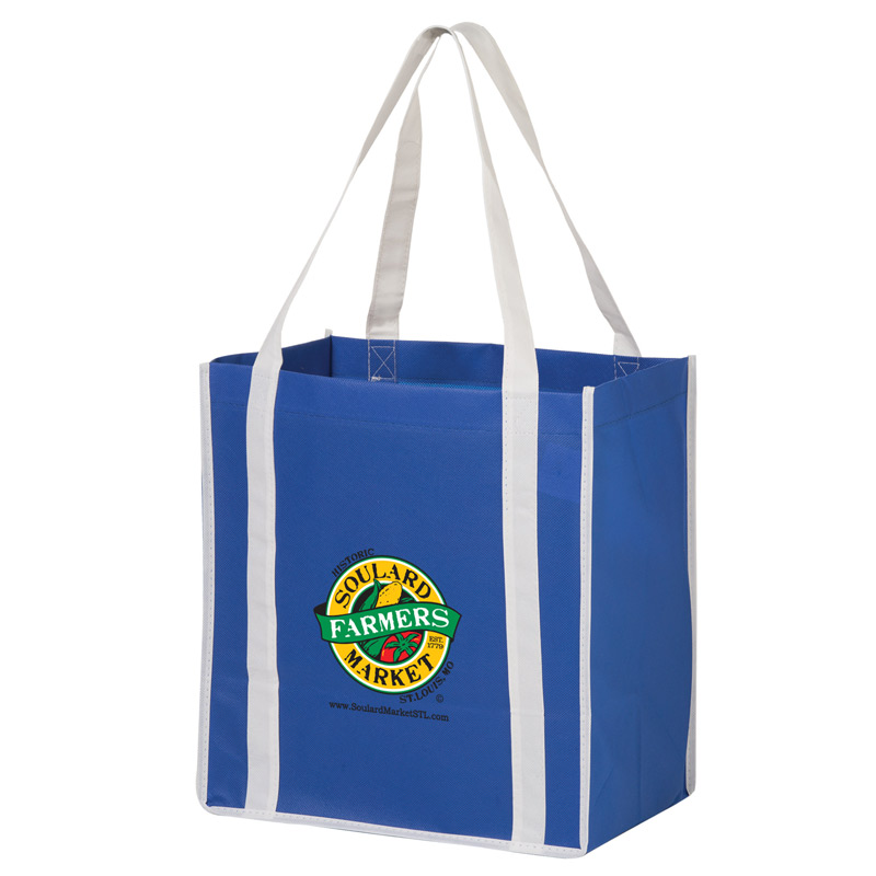 "Two-Tone Heavy Duty Non-Woven Grocery Bag w/Insert and Full Color (12""x8""x13"") - Color Evolution"