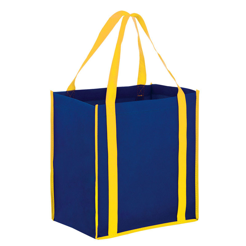 Two-Tone Heavy Duty Non-Woven Grocery Bag w/Insert and Full Color (12