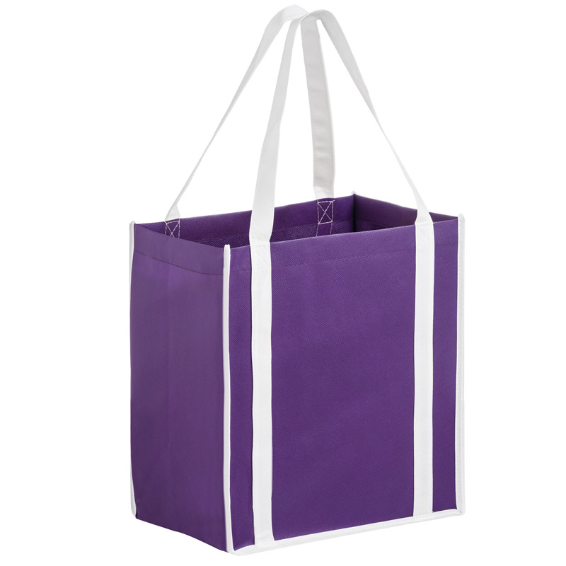 Two-Tone Heavy Duty Non-Woven Grocery Tote Bag w/Insert (12