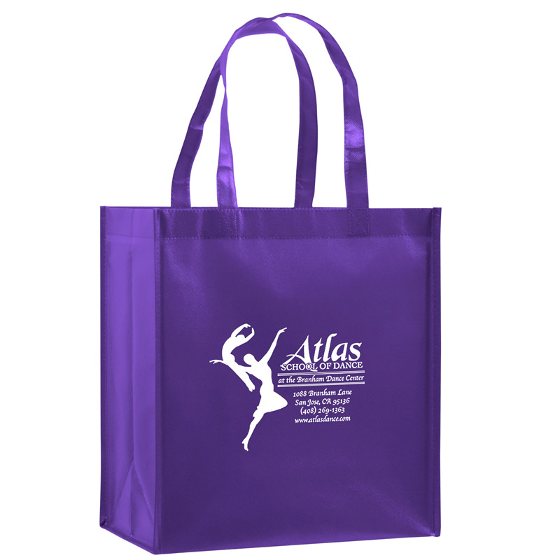 "Gloss Laminated Designer Grocery Tote Bag w/Insert (12""x8""x13"") - Screen Print"