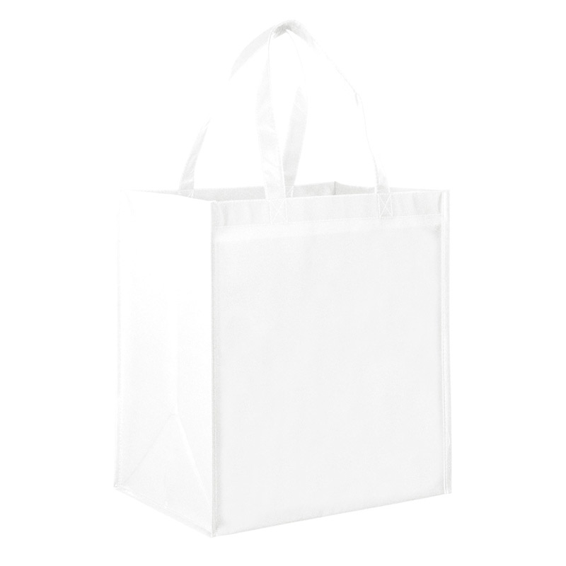 "Gloss Laminated Designer Grocery Tote Bag w/Insert (13""x10""x15"") - Screen Print"