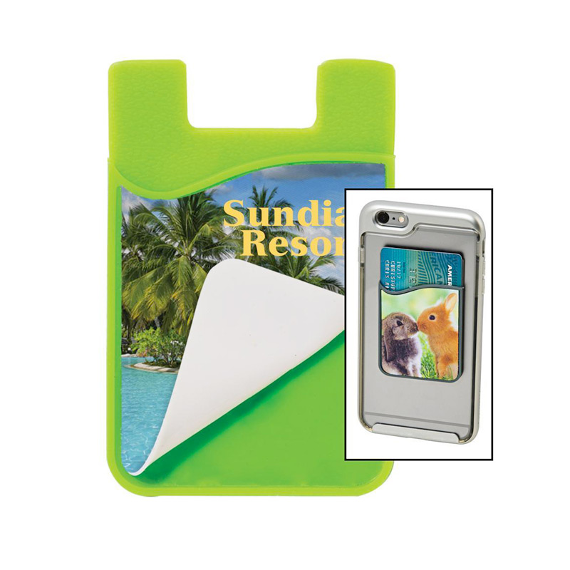 2-in-1 Silicone Phone Wallet and Removable Microfiber Cleaner - Sublimated
