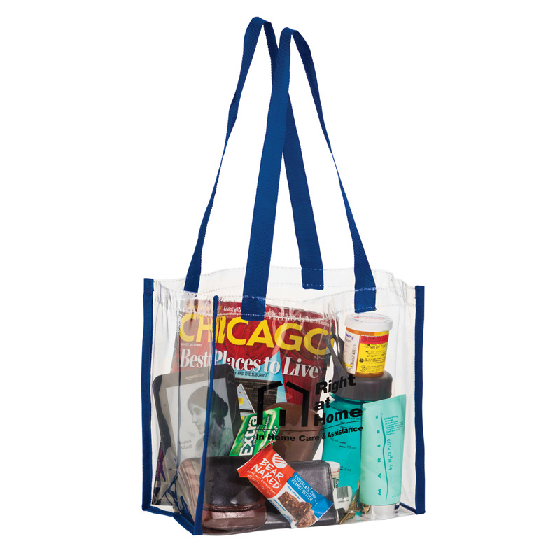 Crystal Clear Vinyl Stadium Security Tote Bag w/Web Trim (12