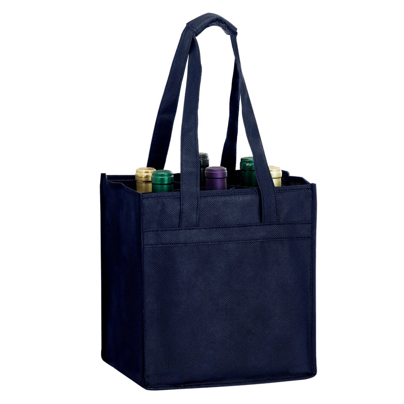 "Wine Tote Bag - 6 Bottle Non-Woven Tote (10""x7""x11"") - Screen Print"