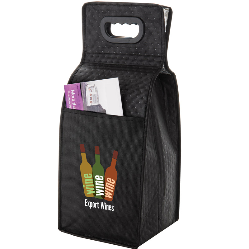 "Insulated Wine Tote Bag - 4 Bottle Non-Woven Tote with Full Color (7.5""x7""x19.5"") - Color Evolution"