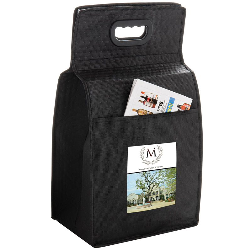 "Insulated Wine Tote Bag - 6 Bottle Non-Woven Tote w/Full Color (10.5""x7""x19.5"") - Color Evolution"