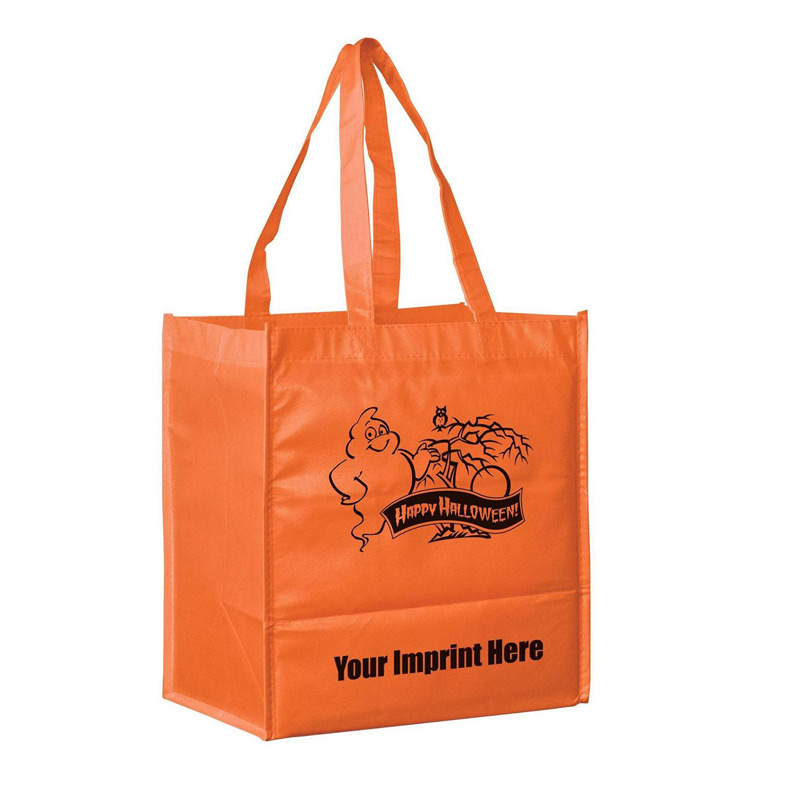 "Halloween Stock Design Orange Non-Woven Tote Bag • Ghost - Customized (13""x5""x13"") - Screen Print"