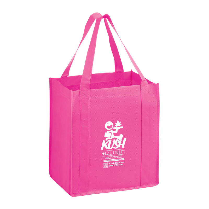 Awareness Pink Heavy Duty Non-Woven Grocery Tote Bag with Poly Board Insert-Customized