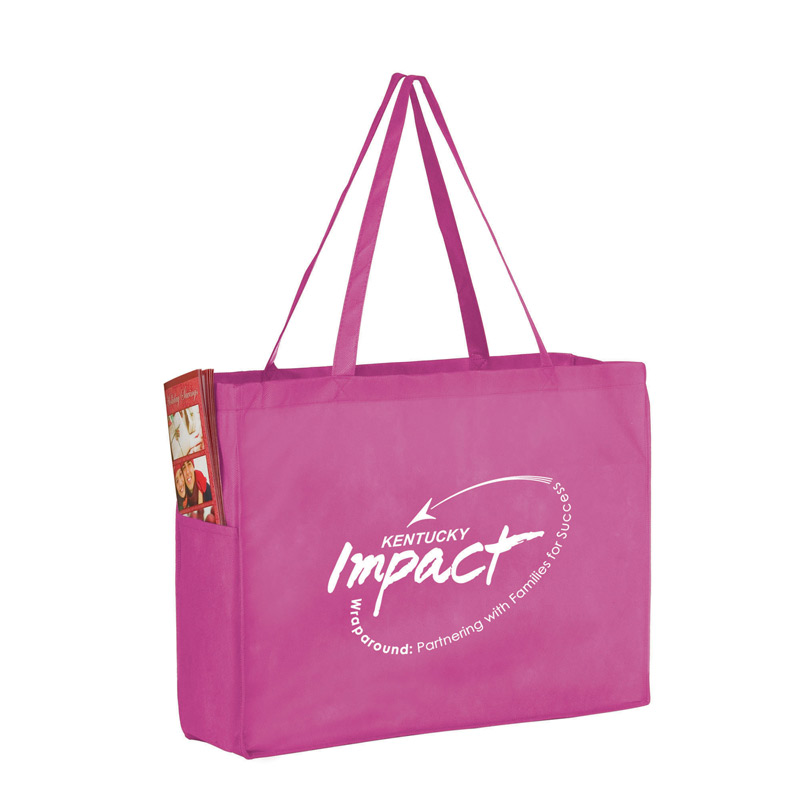 "Breast Cancer Awareness Pink Side Pocket Non-Woven Tote Bag (16""x6""x12"") - Screen Print"