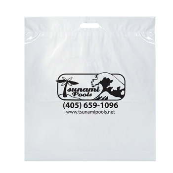 "Die Cut Fold-Over Reinforced Plastic Bag (20""x22""x4"") - Flexo Ink"