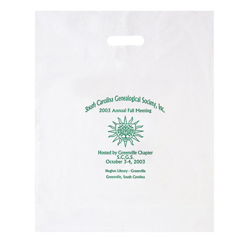 "Patch Handle Reinforced Die Cut Plastic Bag (16""x18""x4"") - Flexo Ink"