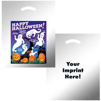 "Halloween Stock Design Silver Reflective Die Cut Bag • Ghosts w/Pumpkins (12""x15"") - Flexo Ink"