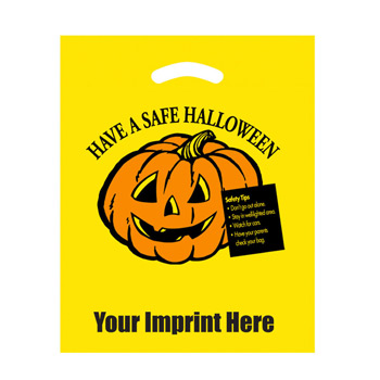 "Halloween Stock Design Yellow Die Cut Bag • Have a Safe Halloween (12""x15"") - Flexo Ink"