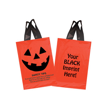 "Halloween Stock Design Orange Soft Loop Shopper • Pumpkin Face & Safety Tips (10""X15"") - Flexo Ink"