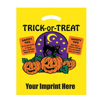 "Halloween Stock Design Yellow Die Cut Bag • Trick-or-Treat (12""x15"") - Flexo Ink"