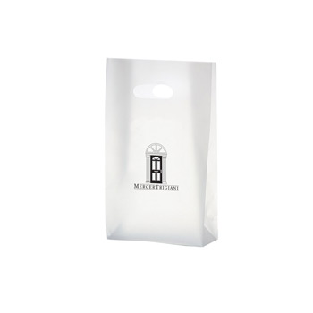 "Clear Frosted Die Cut Plastic Tote Bag w/ Insert (8""x4""x15"") - Flexo Ink"