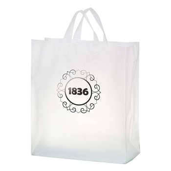 "Clear Frosted Soft Loop Plastic Shopper Bag w/Insert (16""x6""x18"") - Foil Stamp"