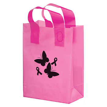 "Breast Cancer Awareness Pink Frosted Soft Loop Plastic Shopper w/Insert (10""x5""x13"") - Flexo Ink"