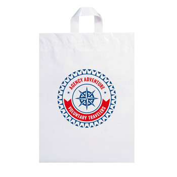 "Fused Soft Loop Handle Plastic Bag (12""x15""x5"") - Flexo Ink"