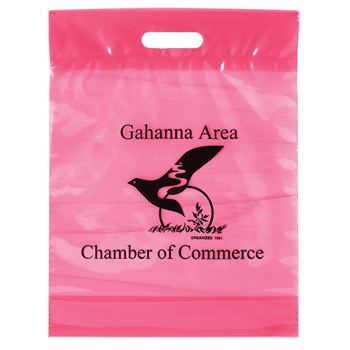 "Breast Cancer Awareness Pink Tinted Fold-Over Reinforced Die Cut Bag (12""x16""x4"") - Flexo Ink"