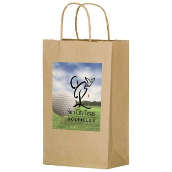 "Natural Kraft Paper Shopper Tote Bag w/Full Color (10""x5""x13"") - Color Evolution"