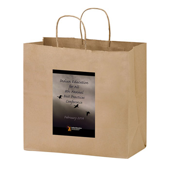 "Natural Kraft Paper Carry-Out Bag w/Full Color (13""x7""x12 ¾"") - Color Evolution"