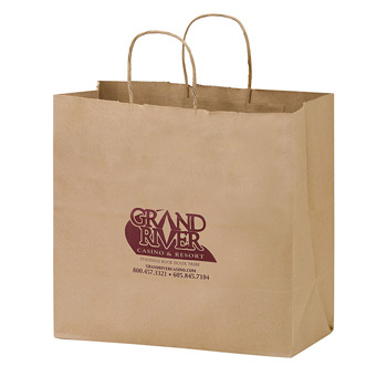 "Natural Kraft Paper Carry-Out Bag (13""x7""x12 3/4"") - Flexo Ink"