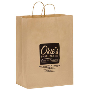 "Natural Kraft Paper Shopper Tote Bag (13""x7""x17"") - Flexo Ink"