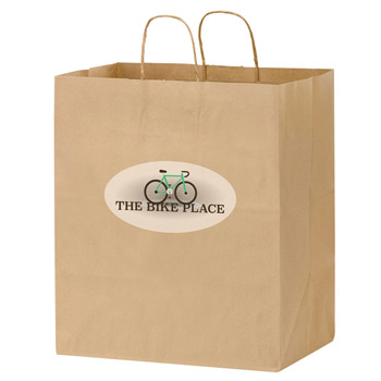 "Natural Kraft Paper Carry-Out Bag w/Full Color (14 1/2""x9 1/2""x16 1/4"") - Color Evolution"