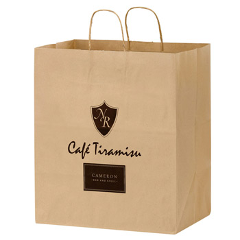 "Natural Kraft Paper Carry-Out Bag (14 1/2""x9 1/2""x16 1/4"") - Flexo Ink"