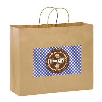 "Natural Kraft Paper Shopper Tote Bag w/Full Color (16""x6""x12"") - Color Evolution"