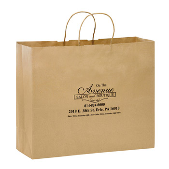 "Natural Kraft Paper Shopper Tote Bag (16""x6""x12"") - Flexo Ink"