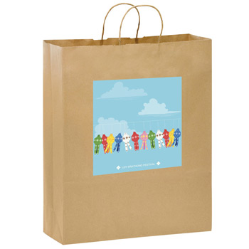 "Natural Kraft Paper Shopper Tote Bag w/Full Color (16""x6""x19"") - Color Evolution"