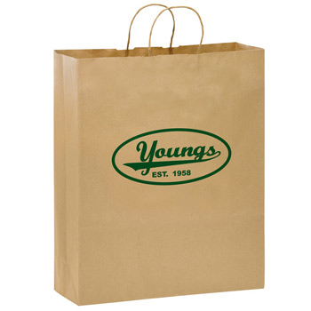 "Natural Kraft Paper Shopper Tote Bag (16""x6""x19"") - Flexo Ink"