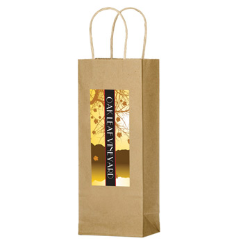 "Natural Kraft Paper 1-Bottle Wine Tote Bag with Full Color (5.5""x3.75""x12.5"")- Color Evolution"